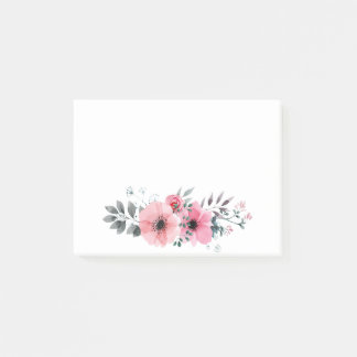 Floral Anemone Watercolor Pink & Gray Flowers Post-it Notes