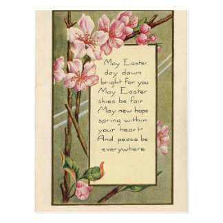 Floral Antique Vintage Happy Easter wish greetings Postcard