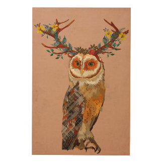FLORAL ANTLER AMBER OWL Wooden Canvas Wood Wall Decor