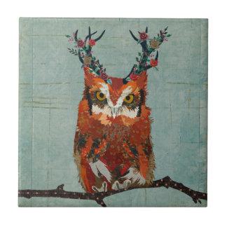 FLORAL ANTLER OWL Tile