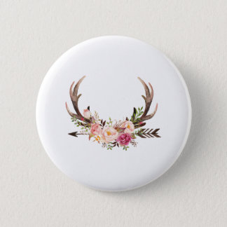 Floral antlers 2 inch round button