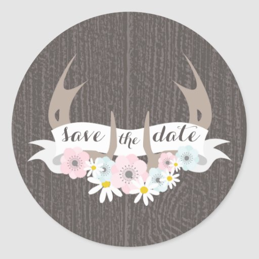Floral Antlers + Barn Wood Save The Date Sticker