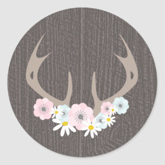 Floral Antlers + Barn Wood Sticker