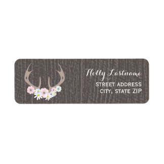 Floral Antlers + Barnwood Address Label