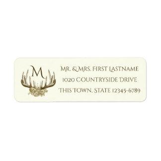 Floral Antlers Monogram Ivory Return Address Label