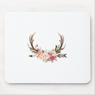 Floral antlers mouse pad
