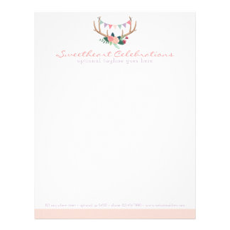 Floral Antlers & Roses Party Bunting Shabby Chic Letterhead Design