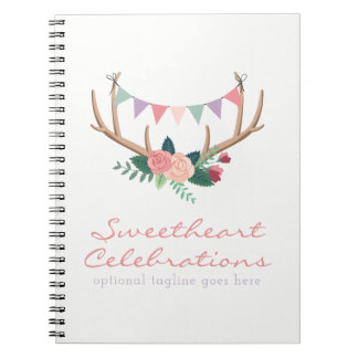 Floral Antlers & Roses Party Bunting Shabby Chic Spiral Notebooks