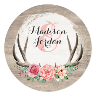Floral Antlers Rustic Wedding Personalized Casual Card