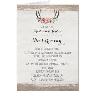 Floral Antlers Rustic Wedding Program Schedule