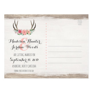 Floral Antlers Rustic Wedding | Save The Date Postcard