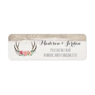 Floral Antlers Rustic Wood Custom Wedding Return Address Label
