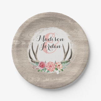 Floral Antlers Rustic Wood Wedding Personalized Paper Plate