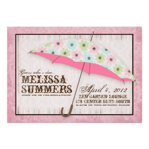 Floral April Showers Baby Shower Invitations