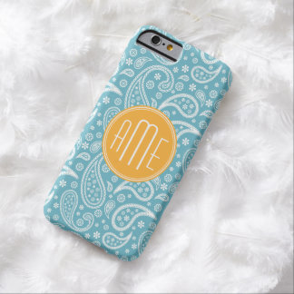 Floral Aqua Blue Paisley Pattern & Yellow Monogram Barely There iPhone 6 Case