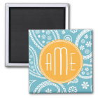 Floral Aqua Blue Paisley Pattern & Yellow Monogram Magnet