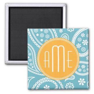 Floral Aqua Blue Paisley Pattern & Yellow Monogram Square Magnet