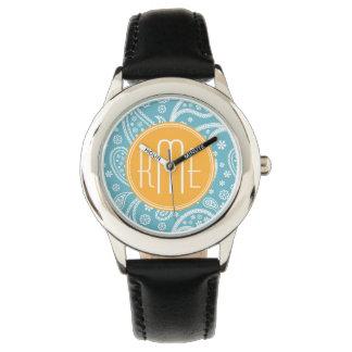 Floral Aqua Blue Paisley Pattern & Yellow Monogram Wrist Watch