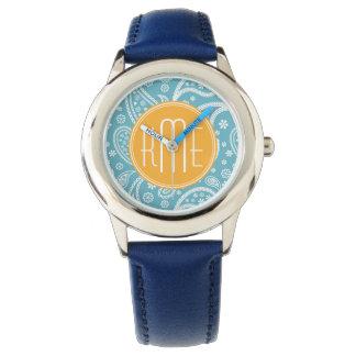 Floral Aqua Blue Paisley Pattern & Yellow Monogram Wrist Watches