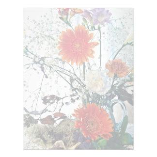 Floral arrangement in glass vase  flowers custom letterhead