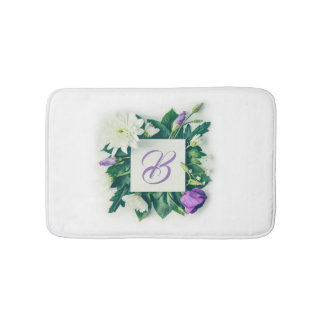 Floral arrangement initial bath mat