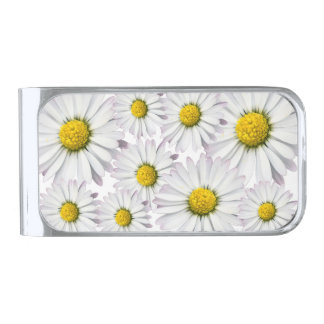 Floral arrangement of white and yellow daisies silver finish money clip