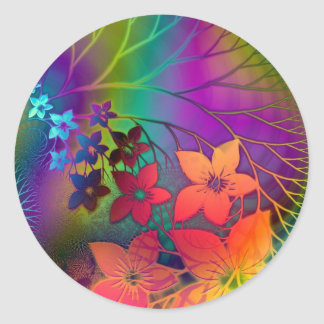 Floral Art and Design Round Stickers