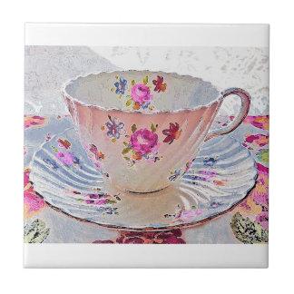 Floral Art Bouquet Vintage Tea Cup Tile