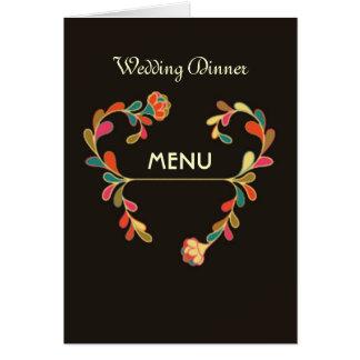 Floral art deco Wedding Menu Card
