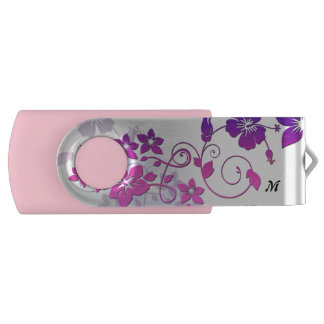 Floral Art Monogram Pink Swivel USB Flash Drive