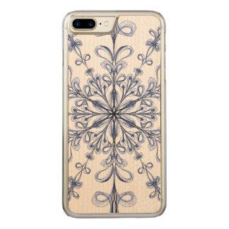 Floral Art Nouveau Cornflower Blue Design Carved iPhone 7 Plus Case