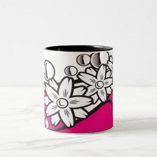 Floral art on pink base mug
