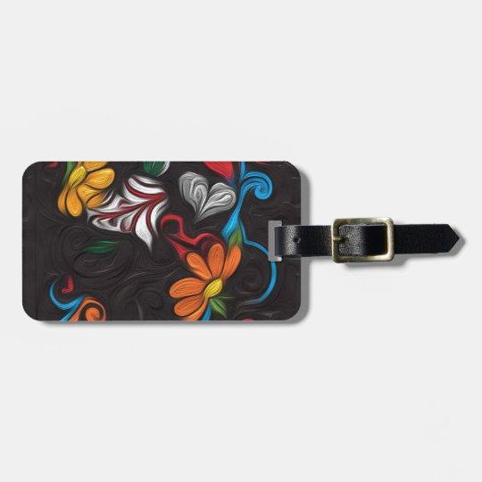 Floral artwork luggage tag