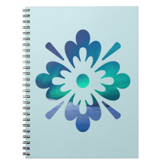 Floral Aurora Northern Lights Spiral Notebook