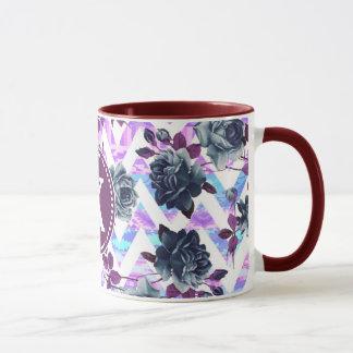 Floral Aztec Chevron Monogram Mug