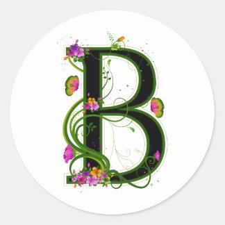Floral B Classic Round Sticker