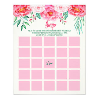 Floral Baby BINGO Card, Baby Shower Games, BINGO Flyers