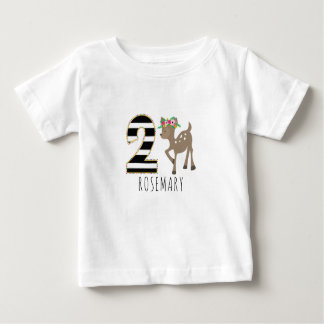 Floral Baby Deer Stripes Second Birthday Shirt