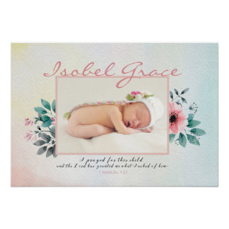 Floral Baby Photo Frame with Bible Verse Poster