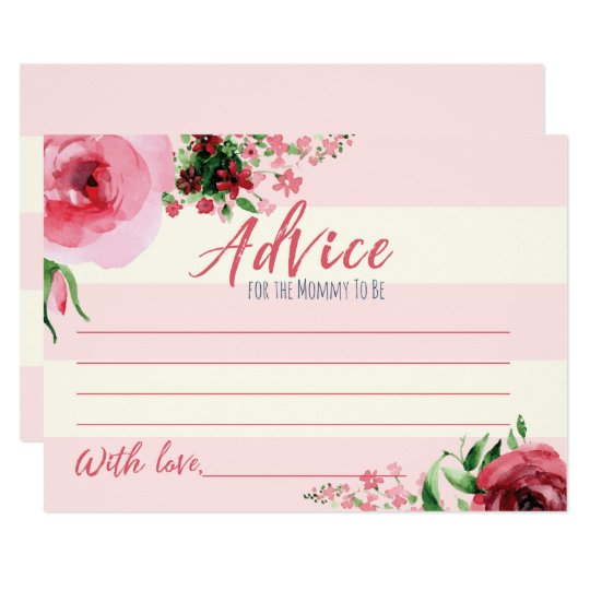 Floral Baby Shower Advice for Momy To Be Card