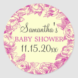 Floral Baby Shower Date Vintage Roses Pink Round Sticker