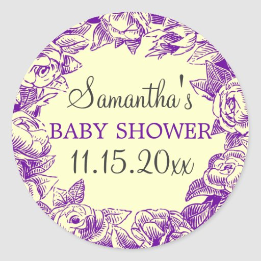 Floral Baby Shower Date Vintage Roses Purple Stickers