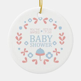 Floral Baby Shower Invitation Design Template Ceramic Ornament