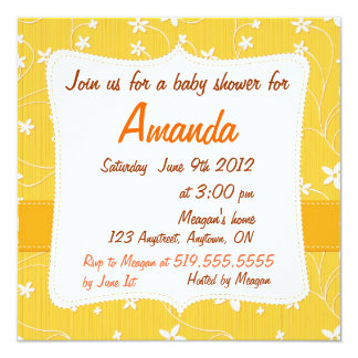Floral Baby Shower Invitation with Yellow Flowers