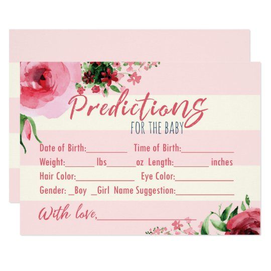 Floral Baby Shower Predictins for the Baby Card