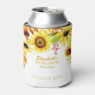 Floral Bachelorette Party Rustic Sunflowers Can Cooler