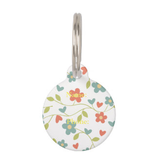 floral background pet ID tags