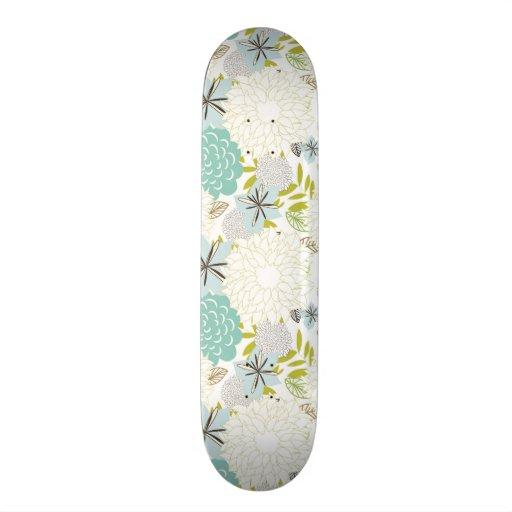 Floral background skate board deck
