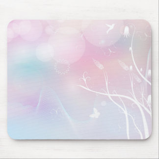 floral background with flowers, leaves, bird mouse pad