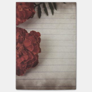 Floral Background with Lined Paper Post-it Notes